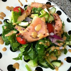 Salmon Salad with A Simple Sesame Dressing #Recipe