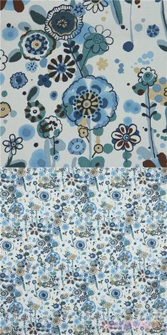 light seafoam green cotton lawn fabric with flowers in blue, brown, teal etc., with leaves, Material: 100% cotton, Fabric Type: lightweight cotton lawn fabric #Lawn #Flower #Leaf #Plants #USAFabrics