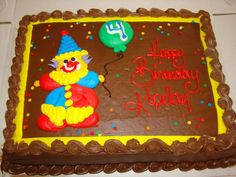 Clown cake - Costco? This will be my lazy backup idea. Order plain cake from store, then pipe on clown myself? Unless store does it...check dick's in bountiful...