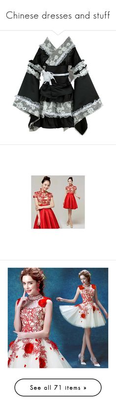 """Chinese dresses and stuff"" by fantasy2fiction ❤ liked on Polyvore featuring dresses, women, satin cocktail dress, mandarin collar dress, satin a line dress, a line silhouette dress, red satin dress, costumes, avatar costume and cosplay halloween costumes"