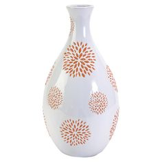 Ceramic vase with a floral motif in orange.  Product: VaseConstruction Material: CeramicColor: O...