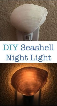 DIY Seashell Night Light! This easy craft takes just a few minutes to make, and is such a fun way to add some beach decor on a budget to any room!
