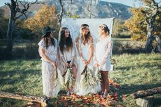 A wild, bohemian wedding inspiration shoot with Native American theme and DIY wedding details. Bohemian Bridesmaid, Bohemian Wedding Dresses, Boho Wedding, Bridesmaid Dresses, Dream Wedding, Bohemian Wedding Inspiration, Wedding Flower Decorations, Back To Nature, Hippie Style