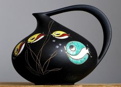 ICONIC Vintage 1956 RUSCHA KERAMIK 313 Fish Black Vase German Pottery Fat Lava E