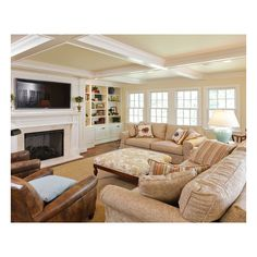 Family Room - traditional - family room - louisville - by Michael... ❤ liked on Polyvore featuring home, furniture, house, living room, rooms, casa, traditional home furniture and traditional furniture