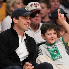 Steve Carell with son John at a Lakers game.