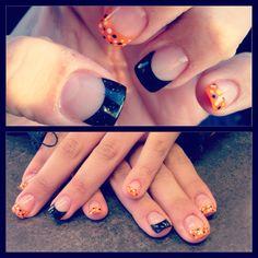 Creativity. #nails #acrylic #gel #orange #black #dots #nailtips #design #halloween