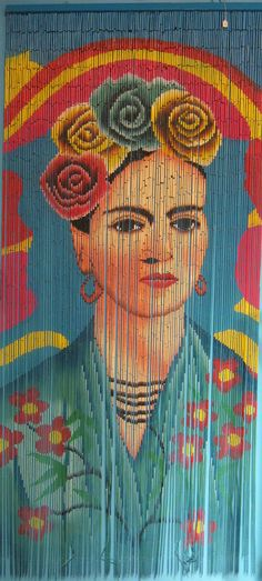 Bamboo Beaded Curtain Hand Painted Frida