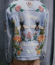 Embroidered denim to remind us of our childhoods spent donning patchwork and…