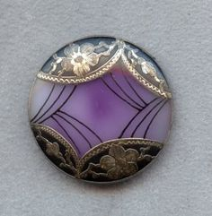 Victorian Glass Button with Ornate Metal Overlay circa 1800s