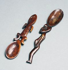 Africa | Two spoons from the Lega people of DR Congo | Wood