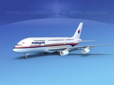 airbus a380-800 malaysia airlines 3d model rigged max obj 3ds lwo lw lws dxf dwg 1