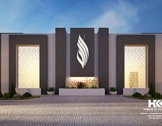 Interior And Exterior Modern Mosque on Behance Compound Wall Gate Design, Fence Wall Design, Exterior Wall Design, Modern Fence Design, House Gate Design, House Front Design, Entrance Design, Facade Design, Modern Exterior