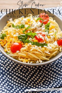If you want an amazingly simple dinner with tons of fresh flavor right from your slow cooker, try this Slow Cooker Chicken Pasta with Corn and Goat Cheese. Slow Cooker Recipes, Gourmet Recipes, Crockpot Recipes, Free Recipes, Yummy Chicken Recipes, Yum Yum Chicken, Slow Cooker Chicken Pasta, Recipe Using Chicken, Goat Cheese