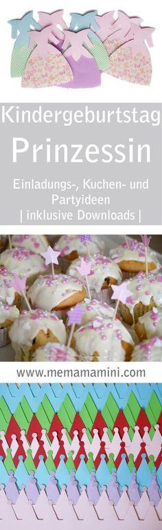 Prinzessin Geburtstag: Einladung, Bastelideen, Kuchenrezept, Muffinrezept, Kindergeburtstag www.memamamini.com