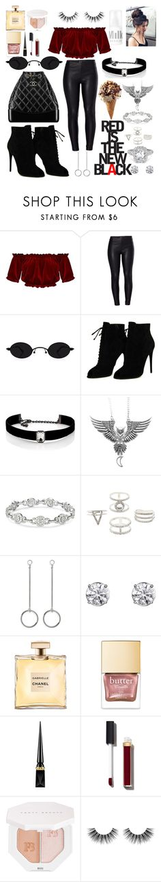 """RED IS THE NEW BLACK ❤️🖤"" by ingridouriques ❤ liked on Polyvore featuring Venus, Chanel, Tom Ford, Kenneth Jay Lane, Charlotte Russe, Christian Louboutin, Puma and Velour Lashes"