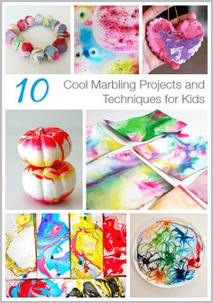 10 Cool Marbling Projects and Techniques for Kids- Including marbled beads, marbled clay, marbled milk, and more! Arts And Crafts Projects, Projects For Kids, Fun Crafts, Crafts For Kids, Quick Crafts, Crafty Projects, Painting Activities, Activities For Kids, Creative Activities