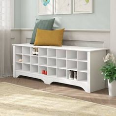 Products Winston Porter Ingham Shoe Storage Bench Finish: White How to Carry a Ladder Correctly In t Shoe Cubby Storage, Corner Storage, Bench With Shoe Storage, Upholstered Storage Bench, Storage Spaces, Storage Benches, Storage Ideas, Shoe Storage In Living Room, Front Door Shoe Storage