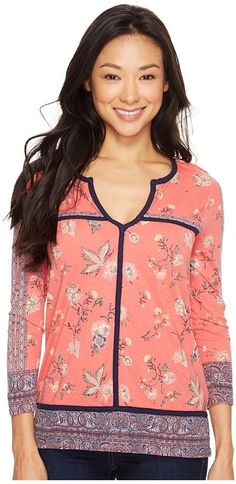 Lucky Brand Floral Border Top Women's Clothing