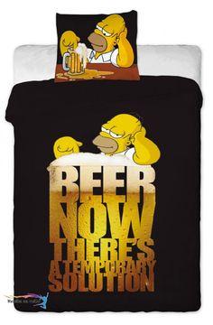 Obliečky Homer Simpson 2 beer s Homerom pri pive. Čierne Obliečky Homer Simpson 2 beer v rozmere 140x200cm, 70x90 cm. Zapínanie-ZIPS Akciová Cena: 21,40 € s DPH