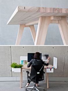 Worknest: Multi Functional Desk Celebrates Simple Wood decoration ideas  Worknest Wood Simple MultiFunctional Desk Celebrates