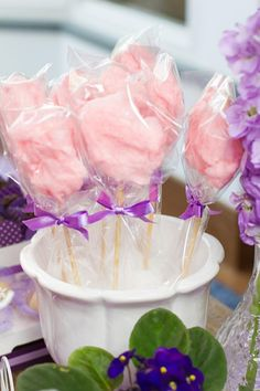 Sofia the First Birthday Party - cotton candy on a stick - call it {Minimus's Cotton Candy Clouds} on the buffet cards