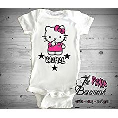 HANDMADE Name Girl Personalized Kitty Inspired Baby Babies Clothes Clothing kids funny Star Pink Girls Newborn Infant Onesies Shower Gift Clothing Gifts kids diaper cover