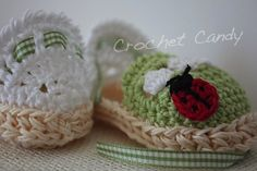 Crochet Baby Espadrille. Pattern Credit: Two Girls Pattern Variations by me. This one has a crab stitch edging and a little ladybug