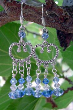 Cowgirl Blues - Swarovski Crystals and Silver Earrings by AGreenWoods on Etsy