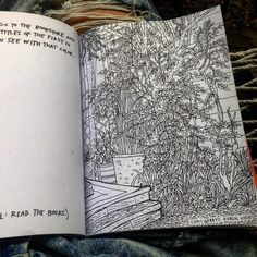 """inky journal sketch of the awesome @realchriswebby secret garden getting the @austinkleon """"steal like an artist"""" journal started"""