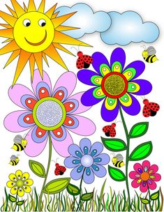 Flower Garden by ColorMyPages on Etsy Art Drawings For Kids, Easy Drawings, Art For Kids, Flower Drawing For Kids, Flower Garden Drawing, Paz Hippie, Flower Doodles, Motif Floral, Whimsical Art