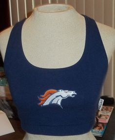 Broncos Logo Navy Blue Sports Bra Cropped Top by TwiggyPudding