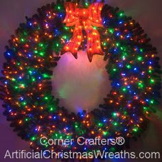 6 Foot (72 inch) Color Changing L.E.D. Prelit Christmas Wreath - #ArtificialChristmasWreaths #ChristmasWreaths #Wreaths #PrelitWreaths #LargeWreaths #multicolorwreaths