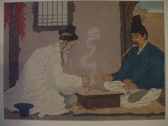 elizabeth keith, koreans playing go.            Keith was yet another westerner learning/working in Japan on woodblock prints.