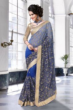 Shaded Blue Weightless Party Wear Saree 61479