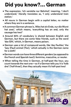 If you've been watching our social media this week, you'll have seen we chose German as our language of the week—and we've been sharing some fun facts! Here are some more for you to use to impress your German-speaking friends! Study German, Learn German, Learn French, German Language Learning, Learn A New Language, Dual Language, English Language, German Grammar, German Words