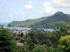 A view of Angolares from Roca de Sao Joao on the southeast coast of Sao Tome Island, São Tomé and Príncipe.