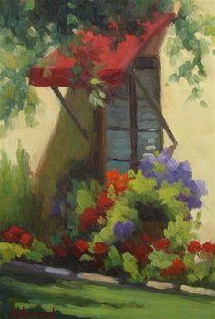 "Daily Paintworks - ""Window with Flower Box"" - Original Fine Art for Sale - © Sherri Aldawood"
