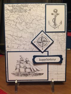 Stampin up card: The open sea and World Map stamp sets