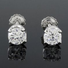 0.50 carat Round Cut VVS1 D Diamond Solitaire Stud Earrings with Screw Back Gift #Unbranded #Stud