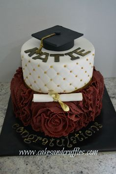 All fondant graduation cake. Top cake was fondant diamond print with gold dragees, the bottom cake was maroon ruffled fondant.  Diploma and graduation cap were gumpaste.