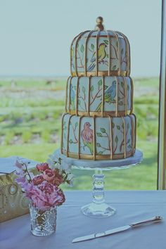 """""""We wanted a cake that would fit in with the vintage look. I'd seen different birdcage cakes online and I knew that it would be the perfect design. We decided to book Cake Poppins and when we met Kate for our cake tasting we knew we had made an excellent choice! She gave us loads of flavours to try and they were all amazing. In the end we decided to have three different flavours (one for each tiere - lemon, chocolate and carrot)."""""""