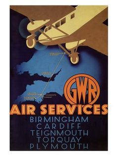 GWR Air Services. 1933. England. Railway and Air Travel Poster