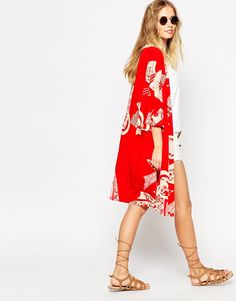 ASOS Kimono in Red Chinese Whispers Print