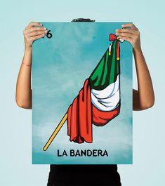 Loteria La Bandera Mexican Retro Illustration Art Print Vintage Giclee on Paper Canvas Poster Wall Decor #loteria #LaBandera #mexican #mexico #print #homedecor #retro  #art
