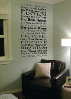 Family Rules 2 vinyl wall  decal by Grabers Graphics on Etsy, $42.00. I love this for the dining room wall!