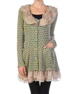 Anthropologie Ryu Boutique Ruffle Rosette Cluster Cardigan Sweater Dress Coat M | eBay