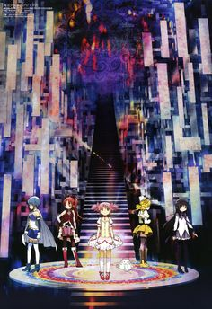 Puella Magi Madoka Magica. The background is very intense looking.