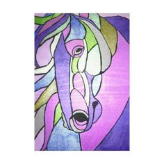 Metallic Horse in Purple Canvas