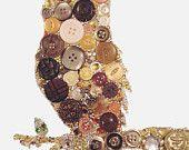 Bijoux Buttons Owl, Button Art Swarovski Rhinestones, Unique Gifts